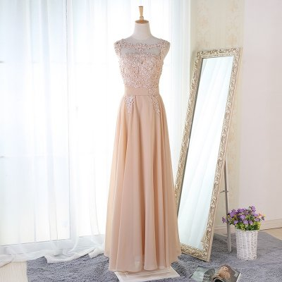 A-Line Round Neck Floor-Length Light Champagne Bridesmaid Dress with Appliques