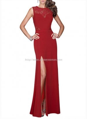 Stunning Sexy Lace and Chiffon Formal Red Evening Dress CHED-90043 with Front-slit
