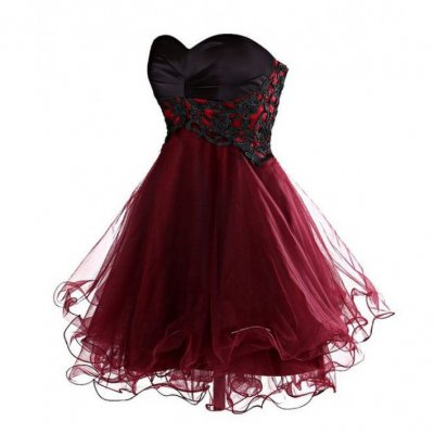 New Arrival Ball Gown Short/Mini burgundy Homecoming Dress with Black Lace