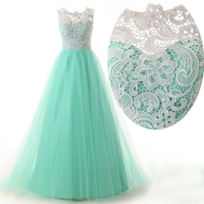 Elegant A-Line Floor Length Tulle Scoop Sleeveless White Prom Dress