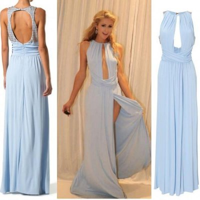 Long Chiffon Prom Dress - Jewl A-Line Blue Split Front with Beaded