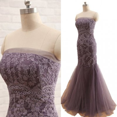 Floor Length Lace Tulle Mother of the bride dress - Chocolate Sheath Strapless