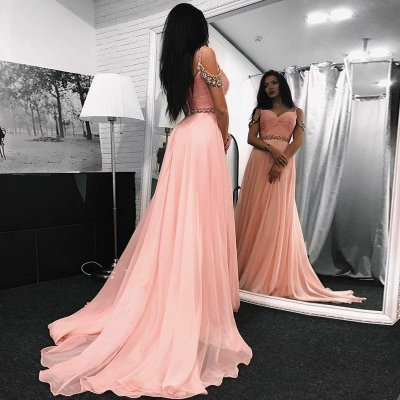 New Arrival Long Prom Dress - Pink Off the Shoulder with Beaded for Women