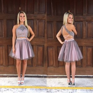 Particular Jewel Sleeveless Short Mauve Homecoming Dress with Beading Lace Open Back
