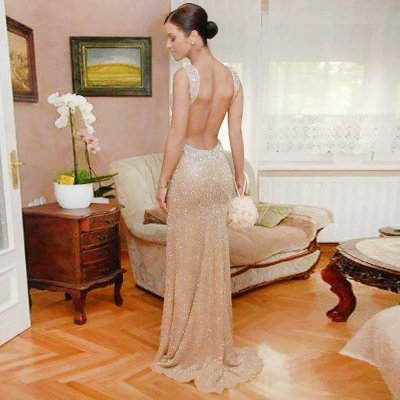 Sheath Backless V-neck Long Light Champagne Sequined Prom Dress with Beading