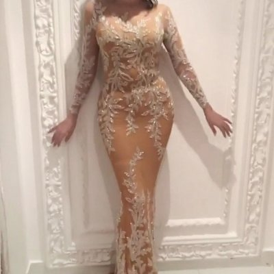 Sheer Mermaid Style Prom Dress - Jewel Long Sleeves with Appliques Beading