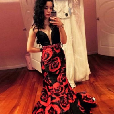 Mermaid V-Neck Sweep Train Black Floral Prom Dress with Beading