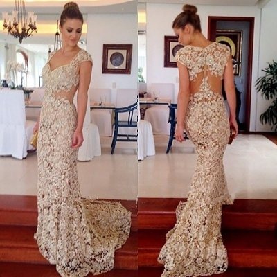 Mermaid Style Scoop Cap Sleeves Sweep Train Champagne Lace Prom Dress