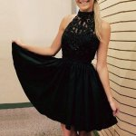 A-Line High Neck Black Chiffon Short Homecoming Dress with Beading Appliques