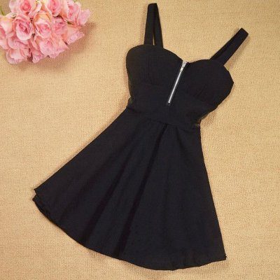 A-Line Straps Empire Polyester Little Black Dress