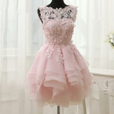 Ball Gown Bateau Tiered Pearl Pink Organza Homecoming Dress with Appliques