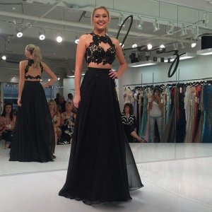 Two Piece Round Neck Open Back Black Chiffon Prom Dress with Appliques