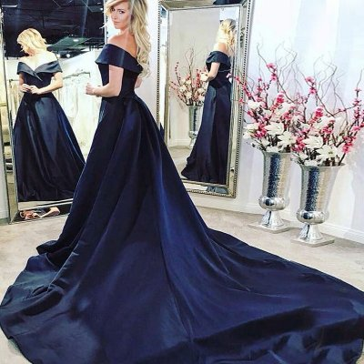 A-Line Off-the-Shoulder Sleeveless Court Train Navy Blue Satin Prom Dress