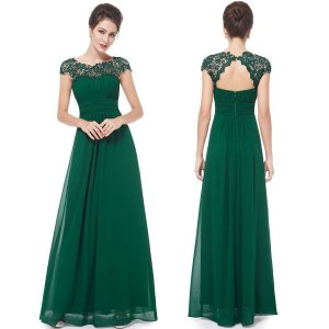 A-Line Bateau Cap Sleeves Open Back Dark Green Chiffon Bridesmaid Dress with Lace