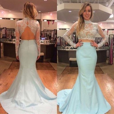 Honorable Prom Dress -Sky Blue Mermaid High Neck Long Sleeves with Lace