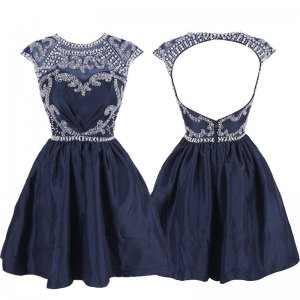 Gorgeous Prom/Homecoming Dress -Navy Blue A-Line Scoop Cap Sleeves Beaded