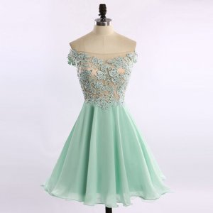 Fashion Off-the-shoulder Short Mint Homecoming Dresses with Appliques Beaded