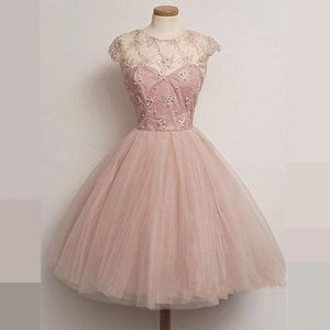 Stunning Jewel Cap Sleeves Ball Gown Pink Homecoming Dress with Beading