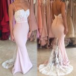 Mermaid Pearl Pink Prom Dress - Spaghetti Straps Backless Sweep Train with Lace
