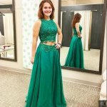 Two Piece Jewel Long Green Tulle Prom Dress with Lace Appliques