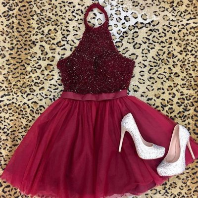 A-Line Halter Backless Short Burgundy Tulle Homecoming Dress with Beading