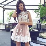 A-line Round Neck Short Blush Tulle Homecoming Dress with Appliques