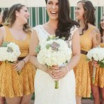 A-Line Scoop Short Yellow Lace Bridesmaid Dress with Sash
