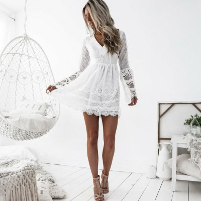A-Line V-Neck Long Sleeves Short White Lace Homecoming Dress