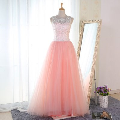 A-Line Round Neck Floor-Length Pink Tulle Prom Dress with Lace