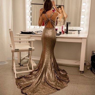 Mermaid V-Neck Open Back Sweep Train Champagne Sequined Prom Dress
