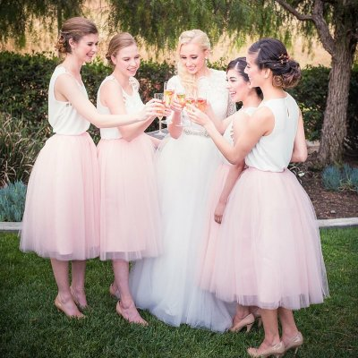 A-Line Round Neck Tea-Length Pink Tulle Bridesmaid Dress
