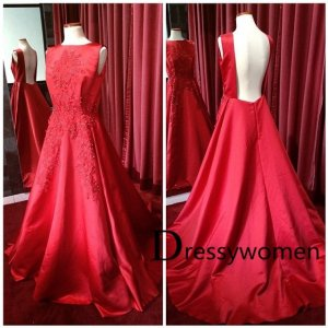 2015 New Arrival Elegant Backless Beading Appliques Red Evening Gown / Wedding Party Dress SAED-90016