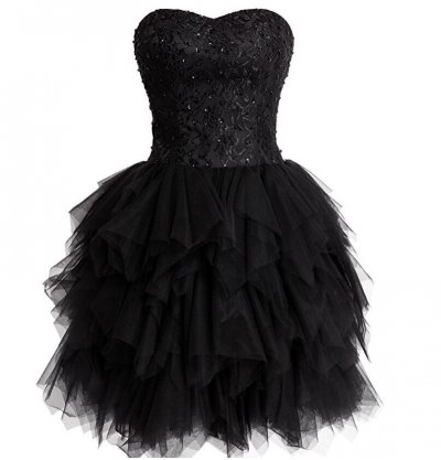 Vintage Black Ball Gown Homecoming/Prom Dresses with Sequins Lace