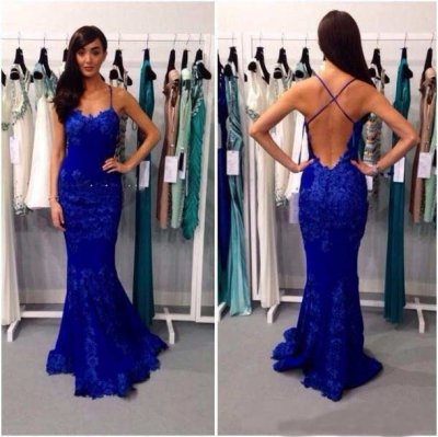 Mermaid Spaghetti Straps Floor Length Lace Royal Blue Prom Dress With Appliques