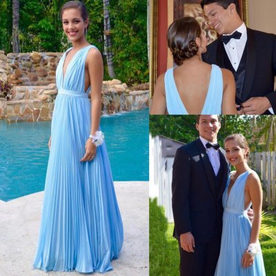 Sexy Long Prom Dress - Sky Blue Cut Low Neck for Party Under 100