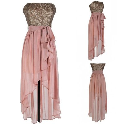 Modern Strapless Sequins High-low Blush Long Bridesmaid Dress With Sash