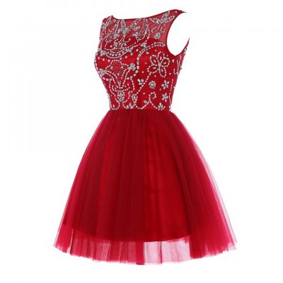 Elegant Red Short/Mini Homecoming Dress with Beaded