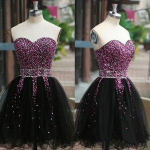 Exquisite Sweetheart Sleeveless Short Black Homecoming Dress with Beading Crystal