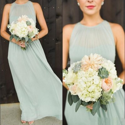 A-Line Round Neck Pleated Sage Chiffon Bridesmaid Dress Open Back