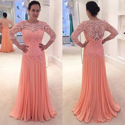 Sheath Round Neck 3/4 Sleeves Peach Chiffon Prom Dress with Lace