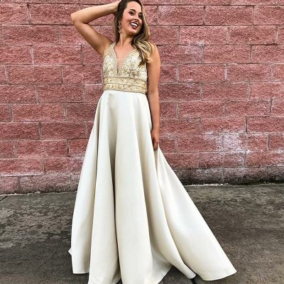 A-Line V-Neck Floor-Length Ivory Satin Prom Dress with Beading