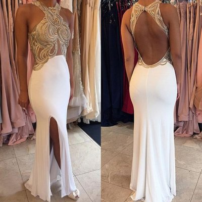 Sexy Halter Gold Appliques White Chiffon Prom Party Dress with Split Side