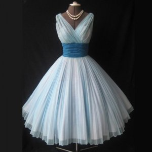 V-neck Sleeveless Tea-Length Ice Blue Homecoming Dresses with Pleats Sash