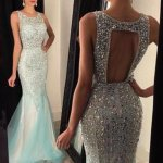 Luxurious Jewel Sleeveless Beading Sequins Open Back Sweep Train Prom Dress