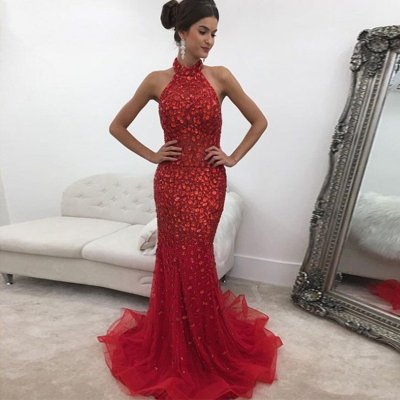 Red Mermaid Prom Dress - Halter Backless Sweep Train with Rhinestones
