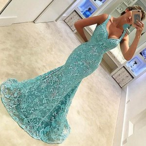 Mermaid Lace Prom Dress - Turquoise Scoop Sleeveless Sweep Train