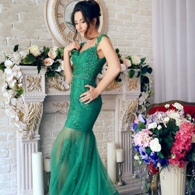 Mermaid Style Prom Dress - Straps Sweep Train Green with Beading Appliques