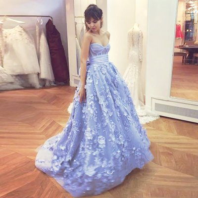 A-Line Sweetheart Sweep Train Lavender Tulle Prom Dress with Flowers Bowknot