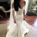 Mermaid Off-the-Shoulder Elastic Satin Wedding Dress with Appliques