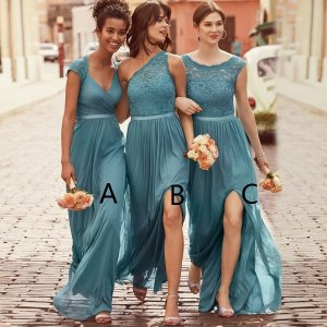 A-Line Scoop Cap Sleeves Dark Sage Chiffon Bridesmaid Dress with Lace
